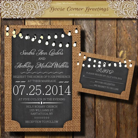 BURLAP Wedding Invitation// String by GooseCornerGreetings on Etsy