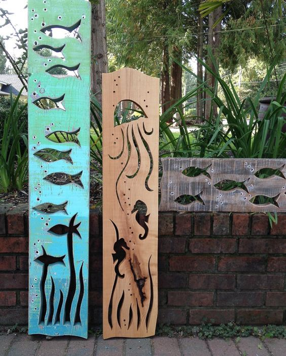 Seahorse jellyfish art panel sign natural wood wall decor vertical ...