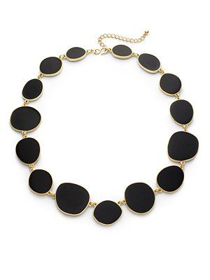Kenneth Jay Lane Enamel Abstract Disk Necklace