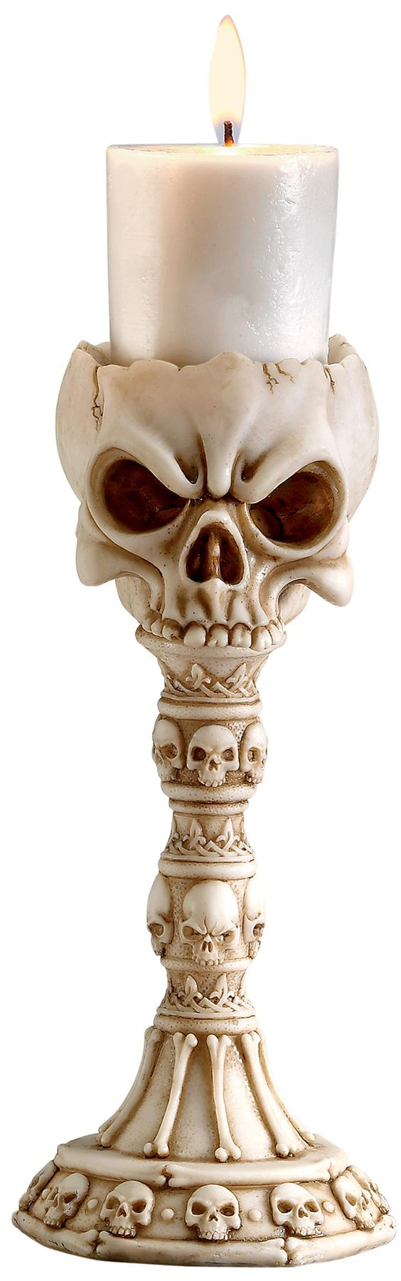 Features: -Material: Designer resin. -Set includes 2 candlesticks. -Hand finished. -Hand cast. Finish: -Faux bone. Candle Included: -Yes. Holiday Theme: -Yes. Holiday: -Halloween. Style: -Con: