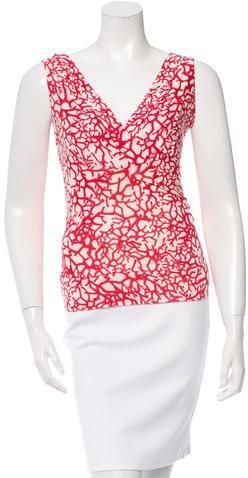 Diane von Furstenberg Silk Coral Print Top