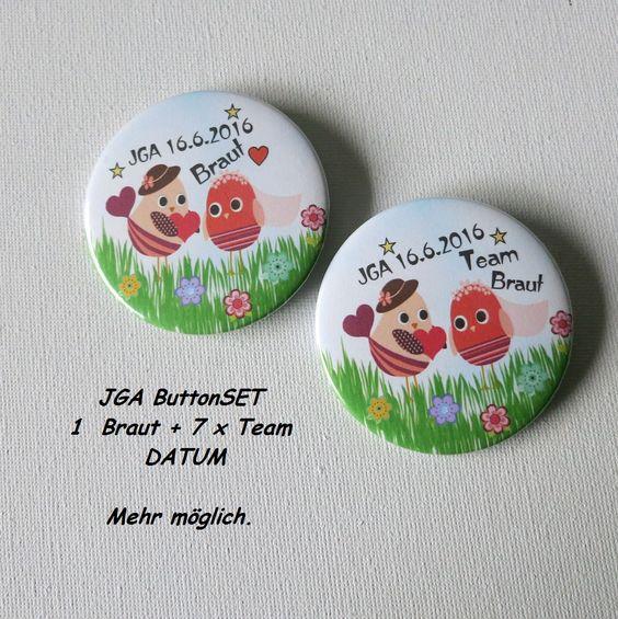 JGA Button-Set 8 Vögel + Datum - Kreawusel-handmade