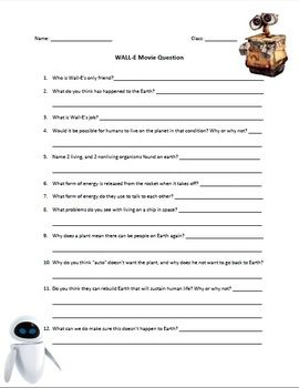 WALL-E MOVIE SCIENCE QUESTIONS (!!!!) | Classroom: General Science ...