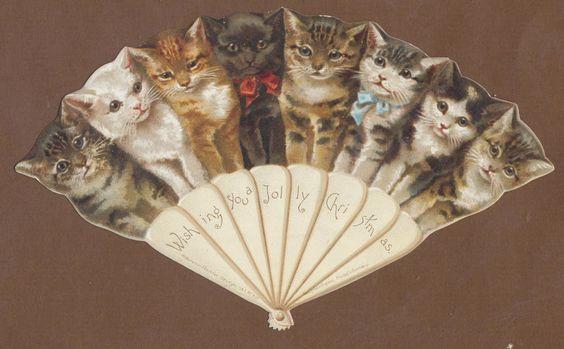 C10849 VGC Victorian Die Cut Xmas Card: Cat Fan in | eBay: