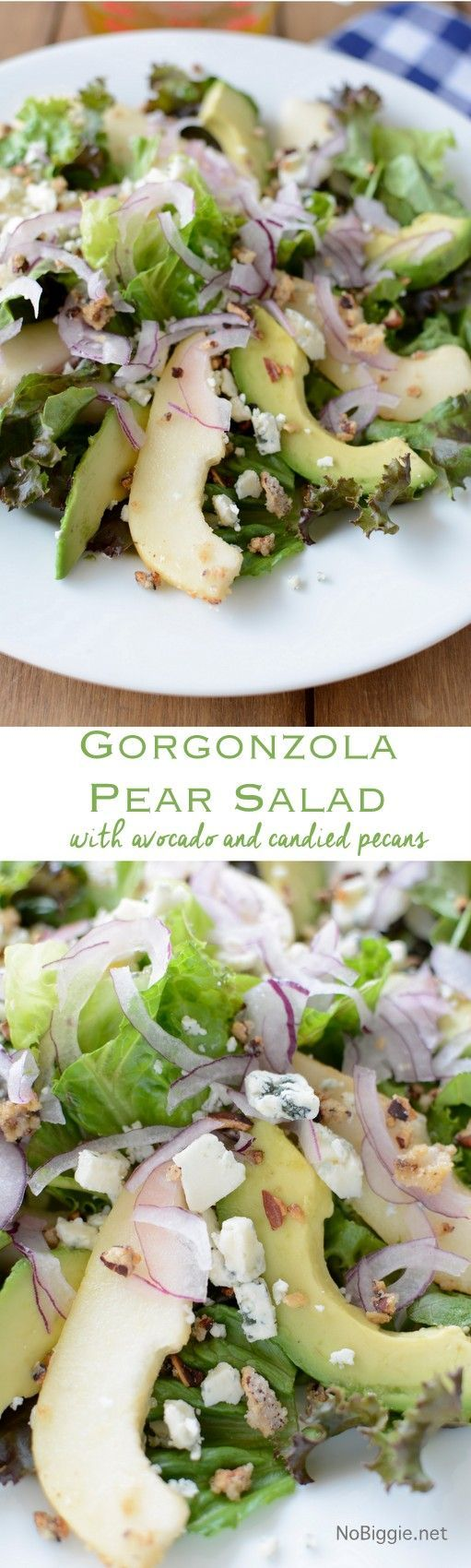 Gorgonzola Pear Salad with candied pecans | NoBiggie.net
