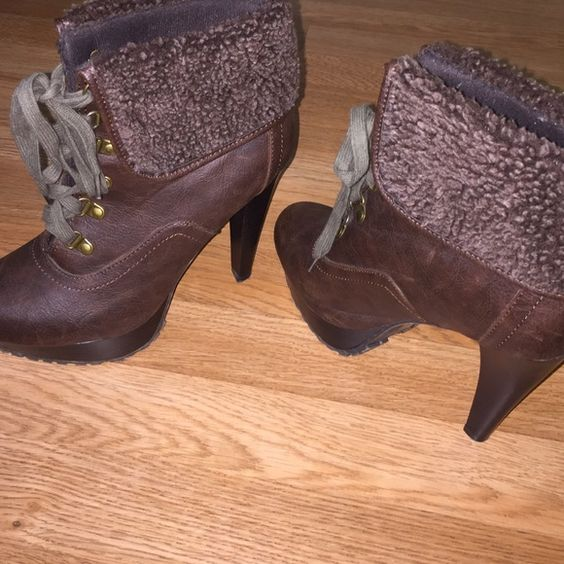 Chocolate booties Brand new only tried on around the house I'm to tall!! Make an offer! Charlotte Russe Shoes Ankle Boots & Booties