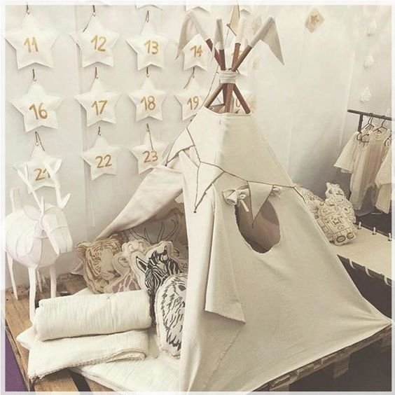 Natural teepee to explore the wildlife secrets #naturalS00 #numero74 #handmade #tepee #animals #cushions #futon #blanket #buntinggarland #schoolbed #robotcushions