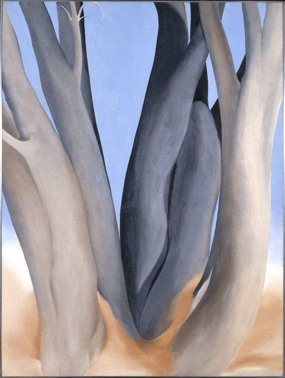 Georgia O'Keeffe. Dark Tree Trunks, 1946. Oil on canvas, 40 x 30 in. Photo: Brooklyn Museum