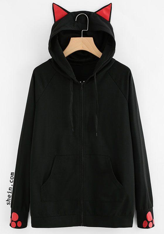Megan-Plays Womens Long Sleeve Sweater Black Cat Ear Hoodie Sweater Style