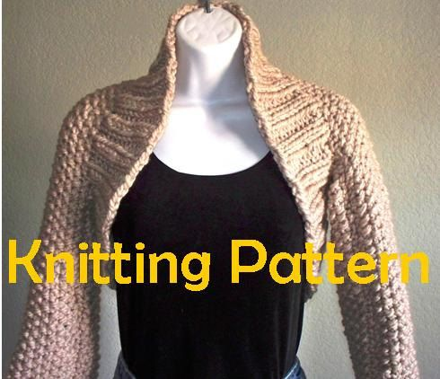 Chunky Long Sleeve Shrug Pdf Knitting Pattern Worldwide Delivery