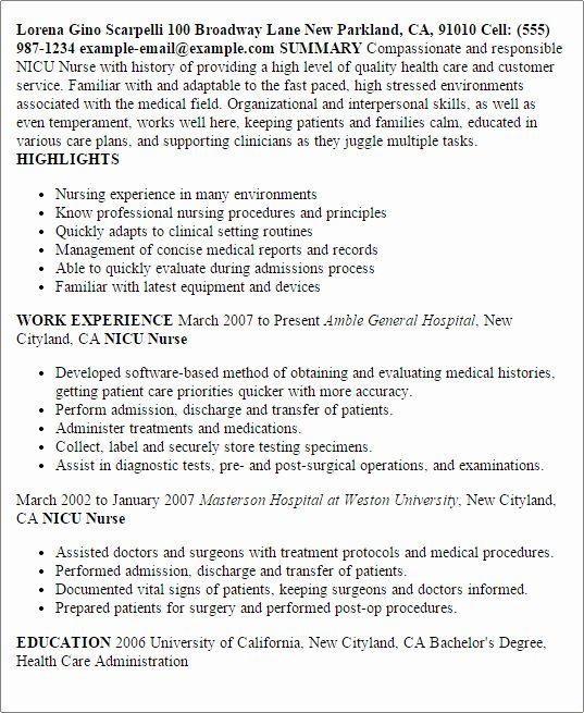 Icu Nurse Job Description Resume New Nicu Nurse Resume Template Best Design Tips In 2020 Nursing Resume Template Nursing Resume Nurse Job Description