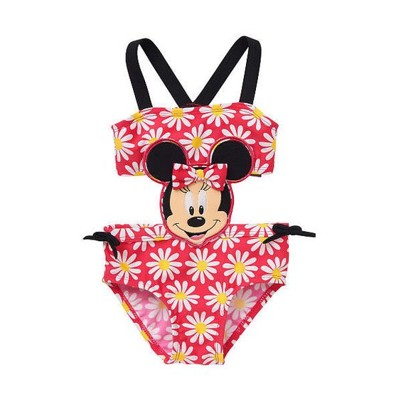 Disney Girls' Pink Floral Minnie Mouse Monokini Swimsuit featuring polyvore