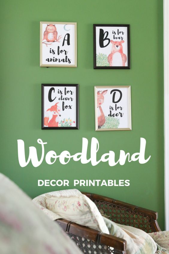 Get them started early on their ABC's with this free printable for your woodland nursery art!