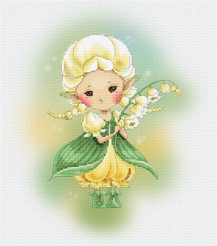 Cross stitch Chart Pattern Flower Sprites -  Lily of the Valley Sprite, 11.18 Etsy
