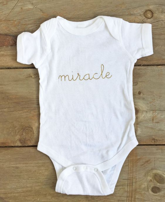 Miracle Baby Onesie - great gift for IVF Moms & Rainbow Babies! https://www.etsy.com/listing/247575598/baby-onesie-miracle-baby-onesie-baby