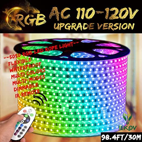 Buy Rgb Led Strip Light Iekov Ac 110 120v Flexible Waterproof Multi Colors Multi Modes Function Dimmable Smd5050 Led Rope Light Remote Home Office Building D In 2020 Rgb Led Strip Lights Led Rope Lights Led Rope