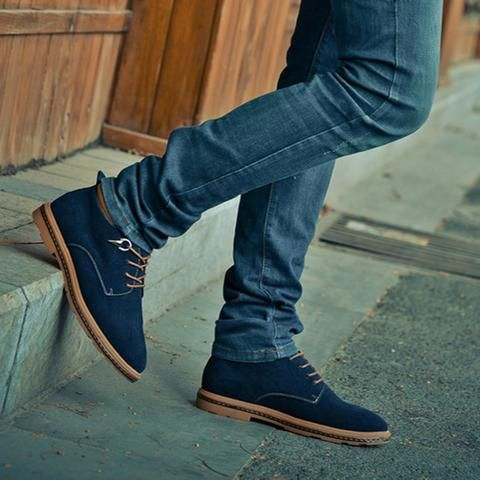 Mens Retro Vintage Urban Ankle Boots Slim Leather Suede Laced Smart Casual