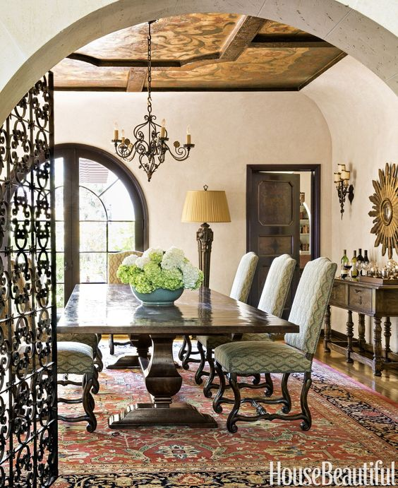 Dining Room of 1920s Spanish Colonial Mission style home