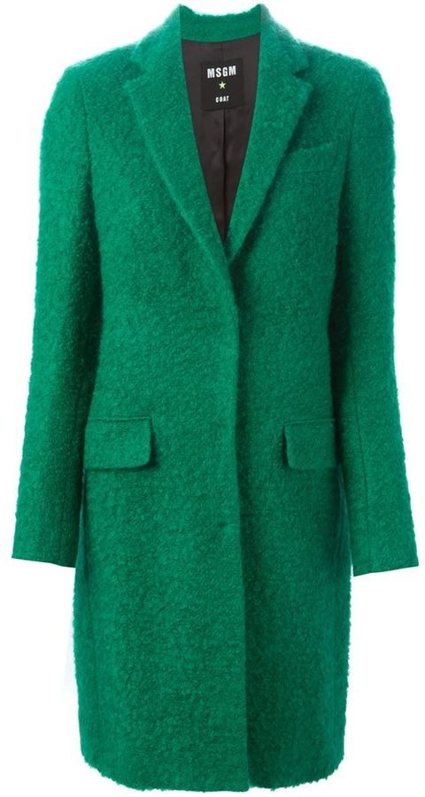 MSGM bouclé single breasted coat