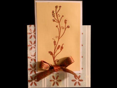 Here is an easy card with a different shape that still fits in an invitation sized envelope. I used a tall stamp and Red Dragon embossing powder. http://www.dinglefoot.com/red-dragon-embossing-powder/