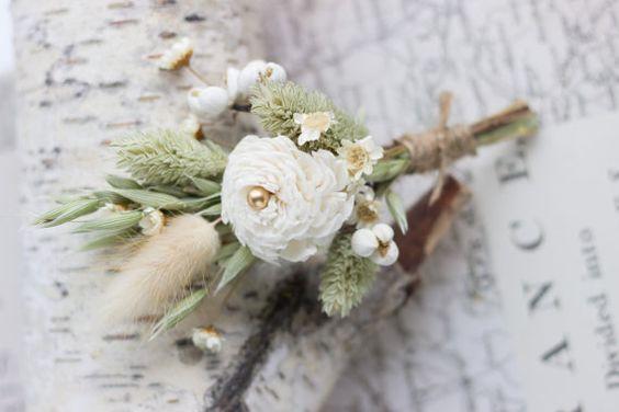 Rustic Wedding Boutonniere Sola Flower by CarolinaRosaDesigns