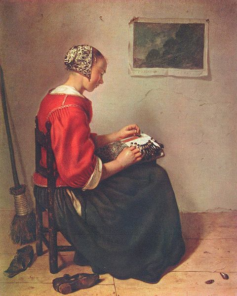 The Lace-Maker by Caspar Netscher (1662), Wallace Collection, London.