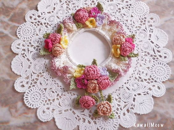 Lovely Hair Scrunchie  Roses Petit Flowers  by KawaiiMeow on Etsy - so Beautiful
