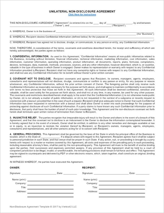 Non Disclosure Agreement Template NDA All Form Templates Non - non disclosure agreement