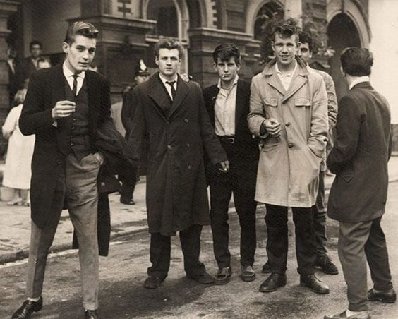 1950's British Teddy Boys, post war working class teenage boy gangs (Teddy Girls were the counter part).