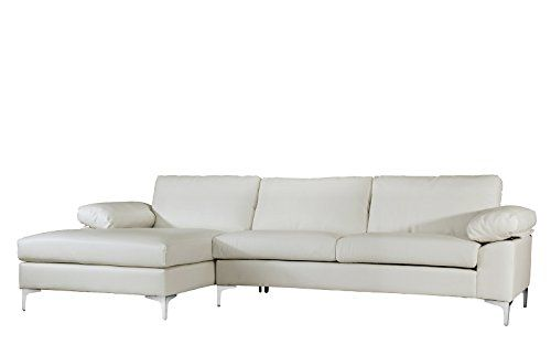 Modern Large Faux Leather Sectional Sofa L Shape Couch With Extra Wide Chaise Lounge Whi Leather Couch Sectional Leather Sectional Sofas Large Sectional Sofa
