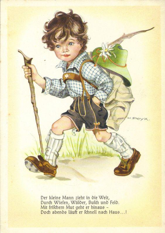Kind-Junge, kleiner Wandersmann, Hilla Peyk-Künstlerkarte um 1940 mit Spruch   eBay