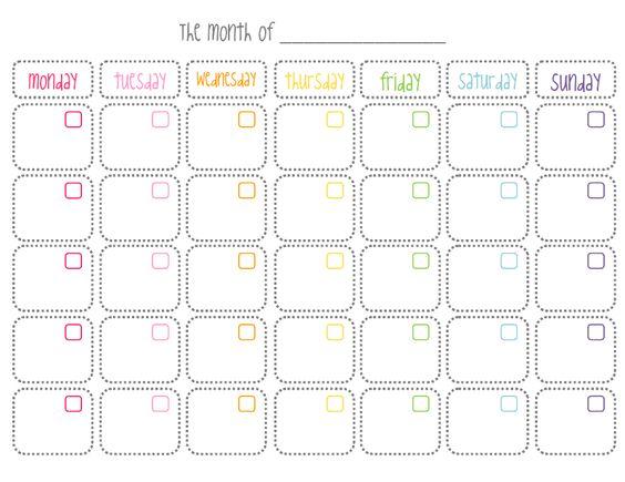 Calendario mensual en blanco, imprimible