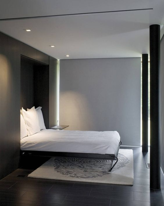 Guest rooms minimalist bedroom and bed in on pinterest for Minimalist guest room