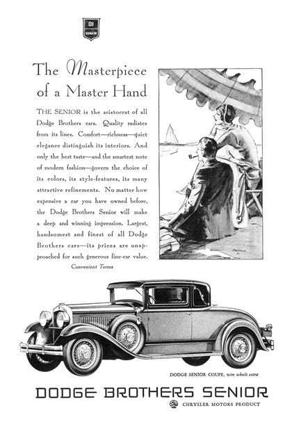 Dodge Senior Coupe Ad (1929): The Masterpiece of a Master Hand - Illustrated by John Gannam