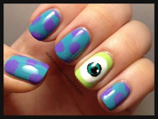 Monster University inspiration nails from Ooh, Cute Nails!