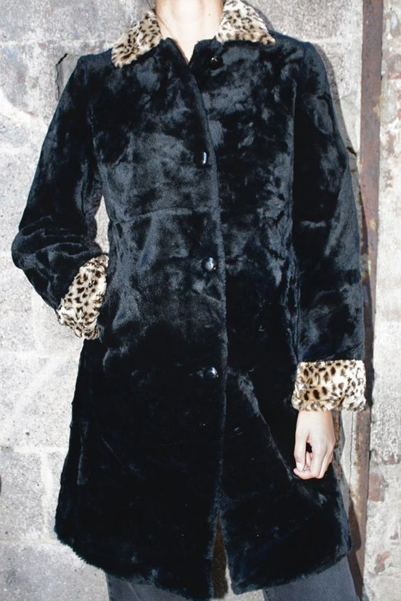 """PreppyGoth"" Faux Fur Coat w/ Cheetah Cat Trim"
