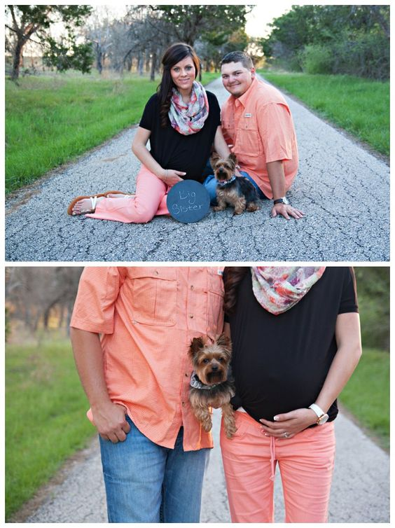 Maternity couple photos with dog in park
