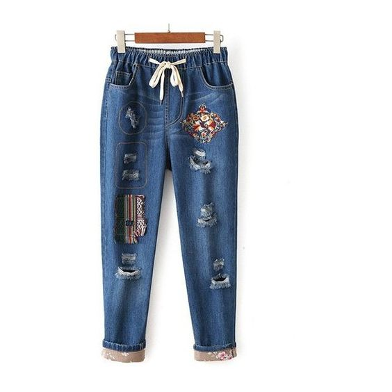 Embroidered Broken Hole Denim Harem Pants ❤ liked on Polyvore featuring pants, blue harem pants, blue trousers, denim trousers, denim pants and blue pants
