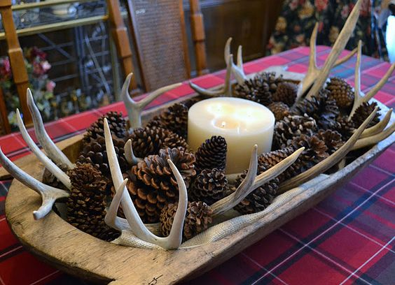 antler and pinecones in dough bowl centerpiece