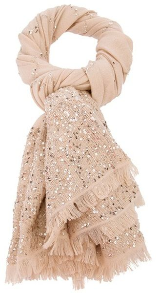 Valentino Sequin Scarf in Beige (nude) find more women fashion ideas on www.misspool.com: