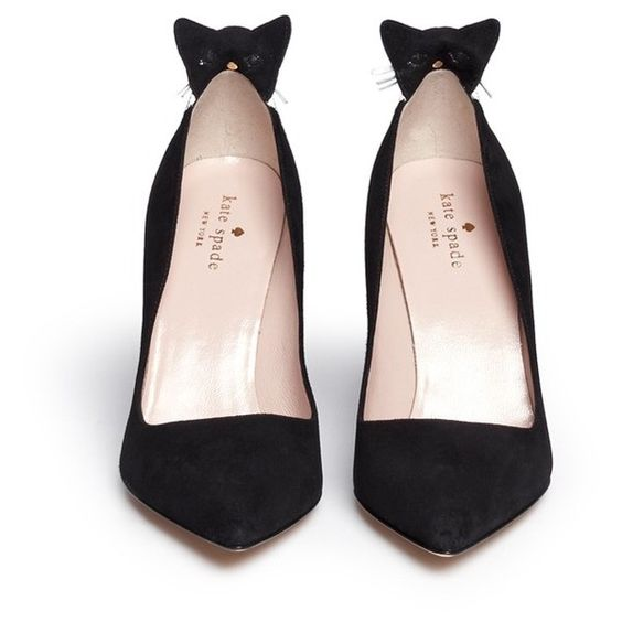 Kate Spade 'Logan' cat flap suede pumps (17,810 PHP) ❤ liked on Polyvore featuring shoes, pumps, suede leather shoes, kate spade shoes, embellished shoes, cat print shoes and structure shoes