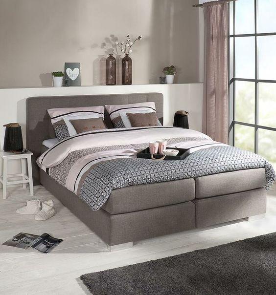 Slaapkamer slaapkamer ideeen met boxspring inspirerende foto 39 s en idee n van het interieur - Taupe kamer en wit ...
