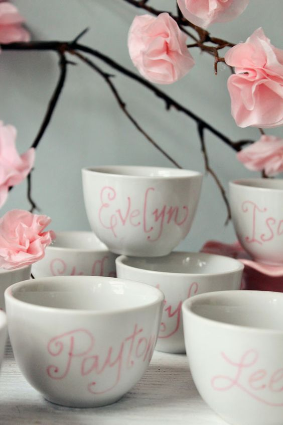 Personalized tea cup favors just draw and bake for Teacup party favors