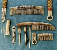 Reconstructions of Anglo-Saxon and Viking bonework. Buckles, strap-ends, combs, cloak pins, needles and needle case.