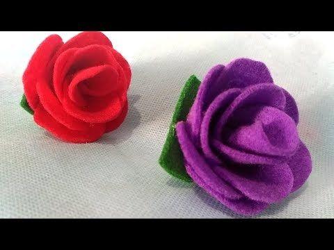 Cara Paling Mudah Membuat Bunga Mawar Dari Kain Flanel How To Make Easy Felt Rose Youtube Bunga Kain Kain Flanel