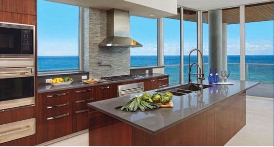 Modern california kitchen with incredible ocean view.  #california #kitchen