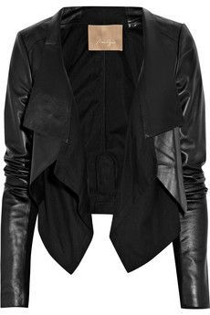 Cotton-paneled leather jacket
