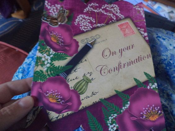 FLORAL CONFIRMATION CARD by BLUEMOONDELIGHTS on Etsy, £1.50