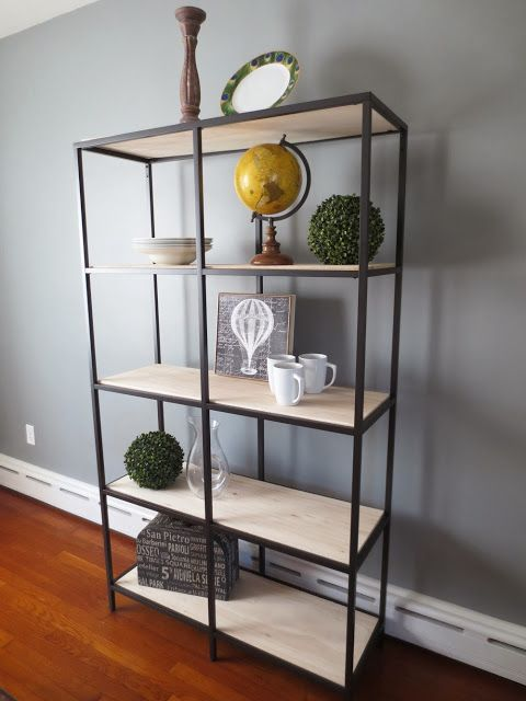 DIY $100 Restoration Hardware Knock-off using an Ikea Bookshelf.  This is great and even with the wood it still looks light (as opposed to heavy with a back on the bookcase).