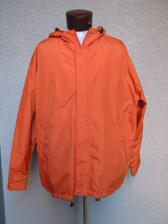 Mens Roundtree &amp Yorke Orange Windbreaker Coat Jacket Size XL